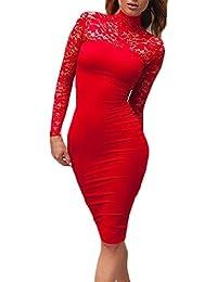 Vestiti Donna Eleganti Vintage Vestito Tubino Ginocchio Abito in Pizzo  Manica Moda Giovane Lunga Slinky Collo b0cda006016