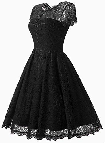 FLYCHEN Damen Elegant Kleider Vintage 1950s Spitzenkleid Cocktailkleid Knielange Swing hochzeitskleid Partykleid Abendkleid Schwarz