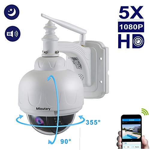 ÜberwachungsKamera Outdoor, IP Kamera 1080p, IP Kamera WLAN für Außeneinsatz P/T 5 X Zoom Nachtsicht 20M Bewegungserkennung benachrichtigen per Mail Fernzugriff über PC/Smartphone/Tablette -