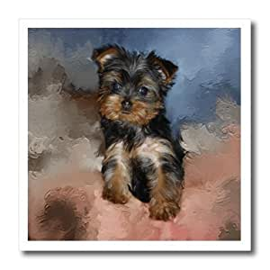 """3dRose ht_3868_3 Toy Yorkie Puppy Iron on Heat Transfer, 10 by 10"""", For White Material"""