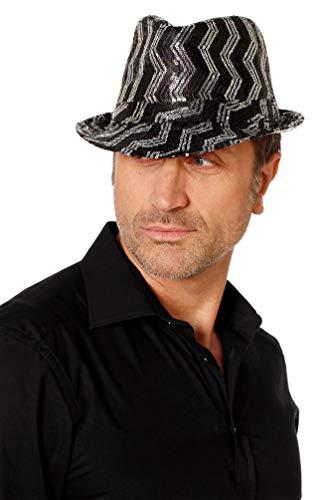 Karneval-Klamotten Popstar Hut Pailletten-Hut gestreift schwarz Silber Disco 80er Jahre Hut