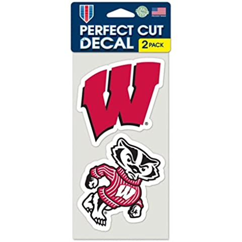 NCAA University of Wisconsin Perfect Cut Decal (Set of 2), 4 x 4 by WinCraft
