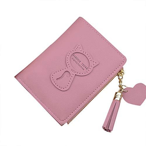 TTLOVE Geldbörse Damen Portemonnaie mit Reißverschluss PU Leder Geldbeutel Groß Portmonee RFID Schutz Geldtasche Viele Fächer Damengeldbörse Brieftasche (Wassermelonenrot) -