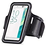 Sony Xperia Serie Jogging Handy Tasche Hülle Fitnesstasche Sportarmband Lauf Bag, Farben:Schwarz, Smartphone:Sony Xperia Z1 Compact