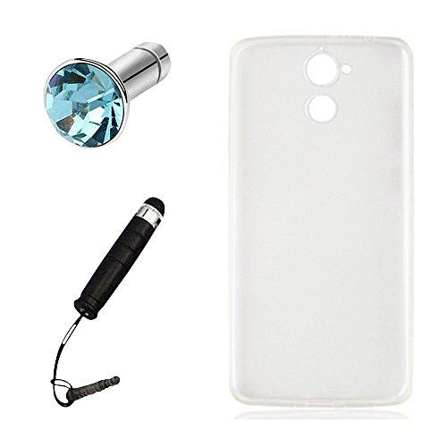 Lusee® Silikon TPU Hülle für Blackview P2 / P2 Lite 5.5 Zoll Schutzhülle Case Cover Protektiv Silicone halb transparent weiß
