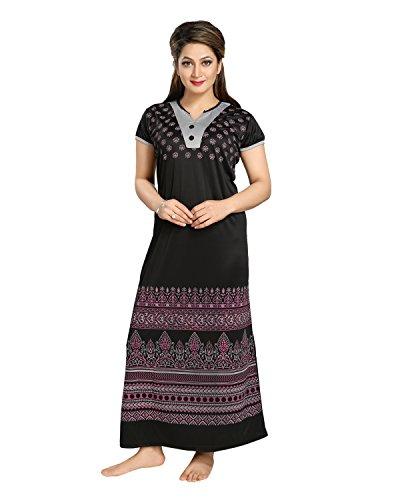 Tucute Women\'s Night Gown / Nightwear / Nighty / Nightdress with Print (Black) (Free Size) Style-1210