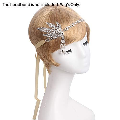 Frauen Kostüm 1920 - STfantasy 1920er Blonde Bob lockigen gewelltes synthetisches Haar für Frauen Cosplay Kostüm