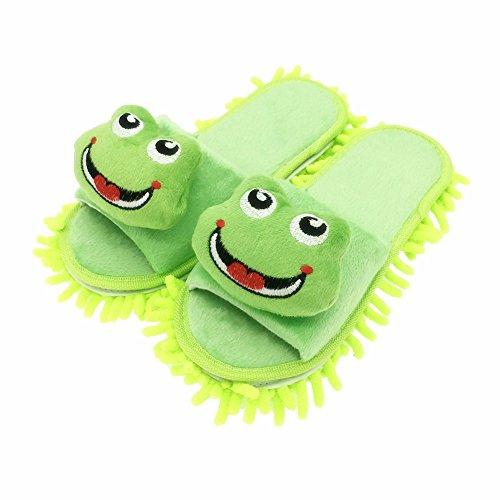 Selric Lächelnden Frosch Hausschuhe mit Abnehmbar Wischmopp Reinigungswerkzeuge,Reinigen Den Boden in Bad, Büro, Küche 25cm [EU Größe:36-39]