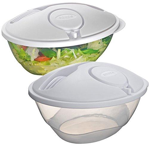 Contenitore d asporto in plastica per insalata da 1300 ml con forchetta