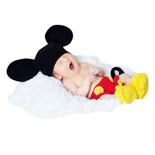 Babymoon Decut Baby Micky Mouse Hat, Shorts & Booties Crochet Clothing Swashh (Multicolor)