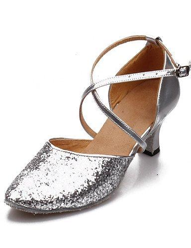 ShangYi Chaussures de danse (Noir/Bleu/Rose/Rouge/Argent/Or) - Non personnalisable - Talon Large - Similicuir/Paillette - Moderne Silver