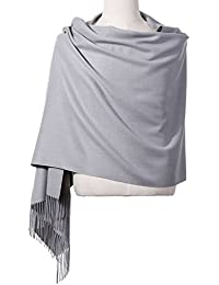 "Womens Pashmina Shawl Wrap Scarf - Ohayomi Solid Color Cashmere Stole Extra Large 78""x28"" (Light Gray)"