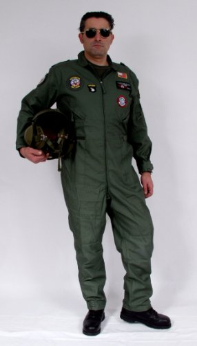 Gr.52 Set Fliegerkombi Pilotenkombi Air Force oliv Faschingskostüm ()