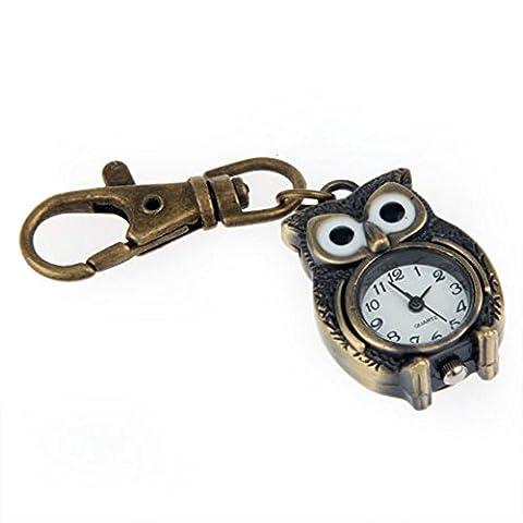 FACILLA® Brass Owl Pocket Pendant Watch Key Chain Keyring 1.5x1