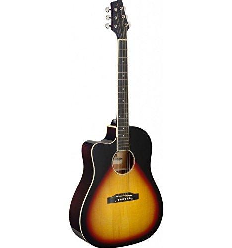 Stagg SA35dsce-vs LH–Guitarra electroacústica zurdos Sunburst