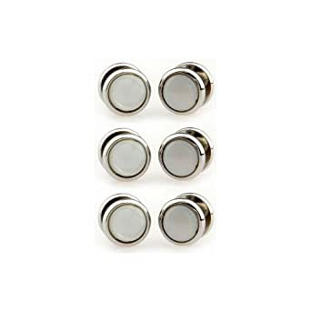 Mother of Pearl and silver coloured dress shirt studs