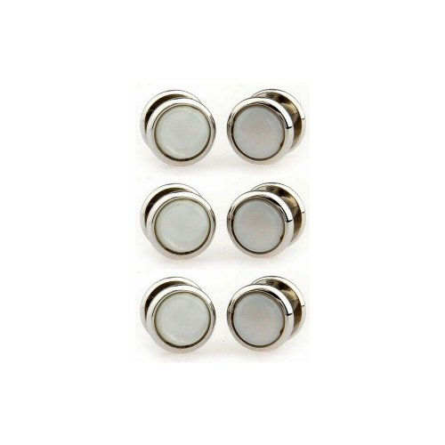 Mother of Pearl and silver coloured dress shirt studs Test