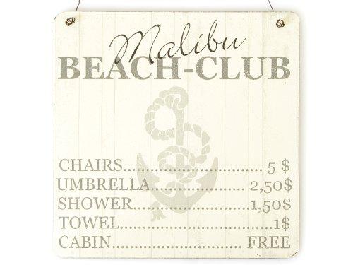 XL Shabby Vintage Schild Türschild MALIBU BEACH CLUB Holzschild Strand Dekoration Sommer Urlaub