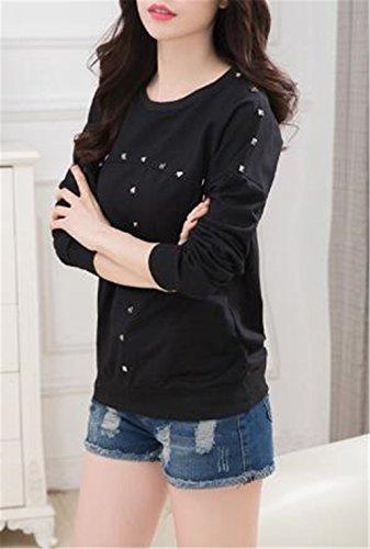 BESTHOO T-shirt à Manches Longues et Col Rond Pour Femme Sweats-shirt Blouse Haut Tops ElÉGant Sweats Pull Décontractée Black