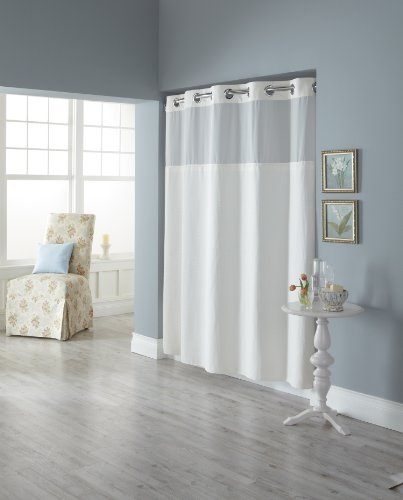 Hookless Fabric Shower Curtain with Built in Liner, White Diamond Pique by Arcs & Angles, Inc. Duschvorhang Pique