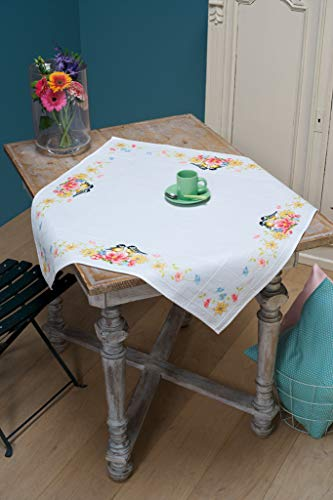 Vervaco Tischdecke Meisen, Aida Decke mit Zählmuster, Baumwolle, Mehrfarbig, 80 x 80 x 0,3 cm