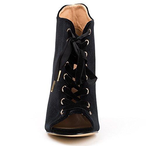 Ideal Shoes - Bottines peep toe à lacets et effet velours Abisha Noir