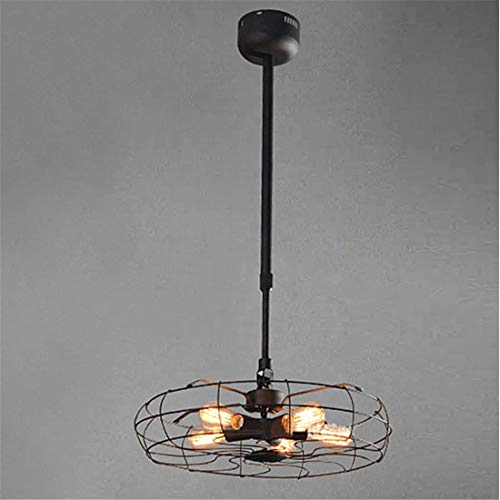 Lichtpendant Light Vintage Industry Wrought Iron Fan Shade 5 Lights Ceiling Lighting Fixture-Black