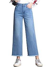 c6e14077e0 Cubrir los pantalones vaqueros rectos Las mujeres sueltan gota Cintura alta  Pantalones anchos de la pierna