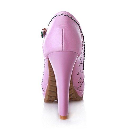 AgooLar Damen Weiches Material Schnalle Rund Schließen Zehe Hoher Absatz Fransig Pumps Schuhe Lila