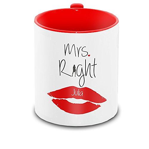 Tasse mit Namen Julia und schönem Mrs. Right - Motiv zum Valentinstag - Liebestasse Keramiktasse 6