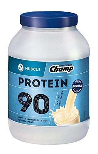 Champ Muscle Protein 90 Eiweißshake (780 g) - Protein Shake mit Vanille-Geschmack - Eiweißpulver mit 36 g Protein pro Portion - enthält Vitamine - ohne Aspartam -