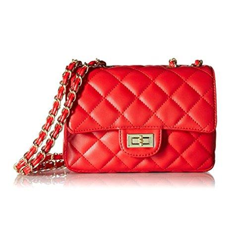 TOYU S Lady Kleine Gold Kette Gesteppte Umhängetasche Mini Kreuz Körper Frauen Handtasche Clutch Classic Abendtasche - Rot (20 * 15 * 7cm)