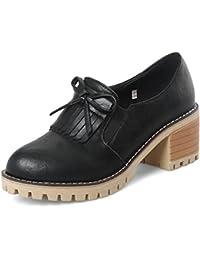 Easemax Damen Rund Toe Dicke Sohle Plateau Keilabsatz Loafer Slipper Schuhe Schwarz 42 EU