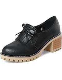 Easemax Damen Rund Toe Dicke Sohle Plateau Keilabsatz Loafer Slipper Schuhe Weiß 40 EU