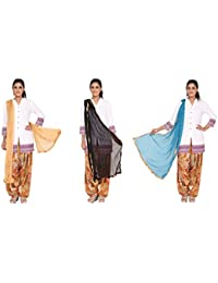 Nikita Women's Synthetic Chiffon Dupattas(Beige,Black,Blue Colors) Pack Of 3 Combo