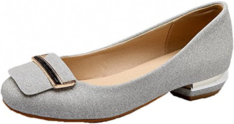 VogueZone009 Mujeres Sin Cordones Mini Tacón Luces Zapatos de Tacón