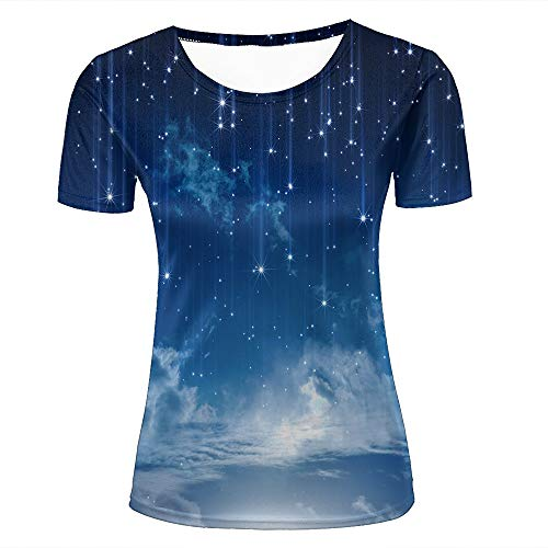 Womens 3D Printed T-Shirts Bright Stars Wonderland Blue Sky Creative Novelty Short Sleeve Tops Tees M
