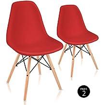 Mc Haus Sena ROJA Pack de Sillas de Comedor de Diseño Nórdico, Haya y Polipropileno