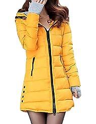 6fd48874840 BOZEVON Abrigo de Cremallera Acolchado Chaqueta Largo con Capucha de Manga  Larga para Mujer Invierno