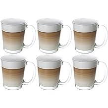vasos de café latte macchiato Cino con asas 6 piezas, 310 ml transparente, café y vasos de té 6 piezas Cappuccino gafas de café Tazas de café vasos copas tazas de té de té usadas con mango como tazas cappuccino