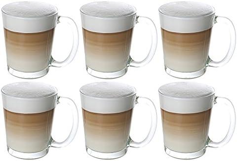 idea-station Cino Latte Macchiato Kaffee-Gläser mit Henkel 6 Stück, 310 ml transparent, Kaffee und Tee Gläser-Set 6-teilig mit Griff als Cappuccino-Tassen Cappuccino-Gläser Kaffee-Tassen Kaffee-Becher Tee-Tassen Tee-Gläser einsetzbar