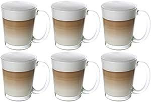 idea station cino latte macchiato kaffee gl ser mit henkel 6 st ck 310 ml transparent kaffee. Black Bedroom Furniture Sets. Home Design Ideas