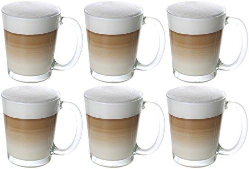 6 Stück Kaffee (idea-station Cino Latte Macchiato Kaffee-Gläser mit Henkel 6 Stück, 310 ml transparent, Kaffee und Tee Gläser-Set 6-teilig mit Griff als Cappuccino-Tassen Cappuccino-Gläser Kaffee-Tassen Kaffee-Becher Tee-Tassen Tee-Gläser einsetzbar)