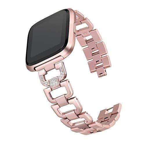 Bayite Fitbit-Versa-Riemen mit Strass, Ersatzarmband für Fitbit Versa aus  Edelstahl, Rose Gold(matches Rose-Gold watch), 5 5