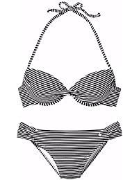 lascana de bikini push up, schwarz-weiss gestre, 36A
