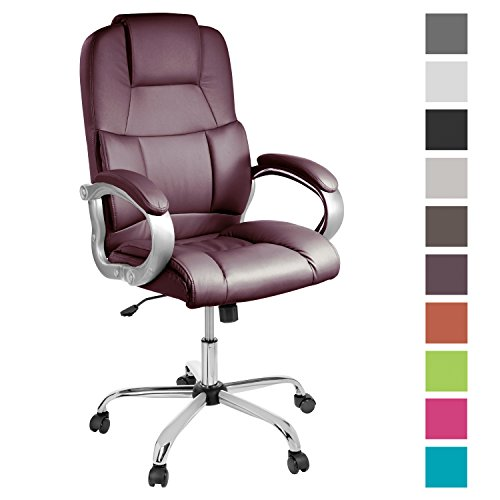 Best Saving for TPFLiving comfortable premium heavy duty XXL Office Chair DENVER Weight Capacity: 210 kg, bordeaux-red, Top Quality Upholstery, Office Chair with Armrest, Tilt mechanism, Stable castor wheels, up to 10 colours to choose on Line