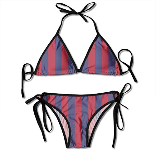 2fd5a37d0d9 USA Flag Blue and Red Stripes Women's Sexy Push up Thong Bikini Sets  Swimwear Two Piece