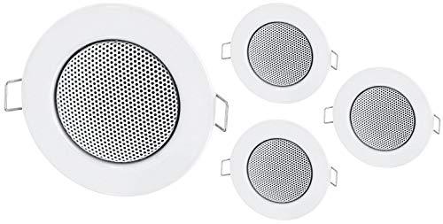 4Pack-Empotrable Mini Altavoz Altavoz de Techo de Metal-Halógeno de diseño-Blanco