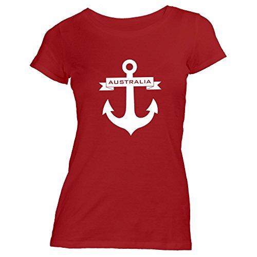 Damen T-Shirt - Anker Band Australia - Maritim Schiffsanker Segeln Rot
