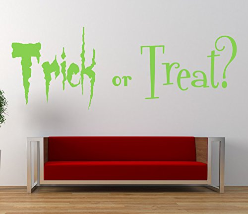 'Trick or Treat' Halloween-Zitat. Vinyl Wandkunst Aufkleber. Wandbild, Aufkleber. Haus, Wand, Fenster, Spiegeldekor